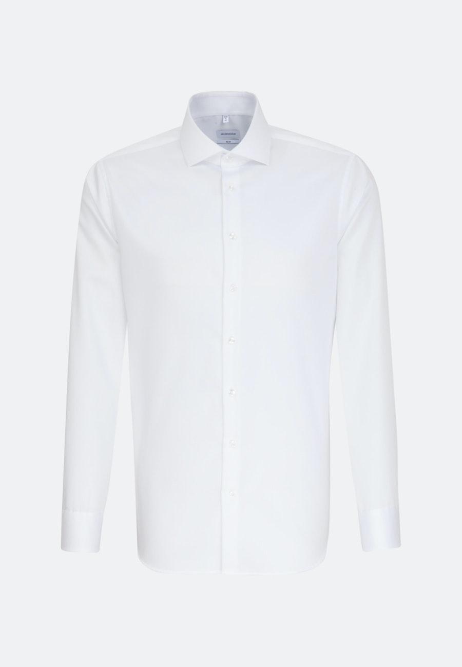 Non-iron Twill Business Shirt in Slim with Kent-Collar in White    Seidensticker Onlineshop