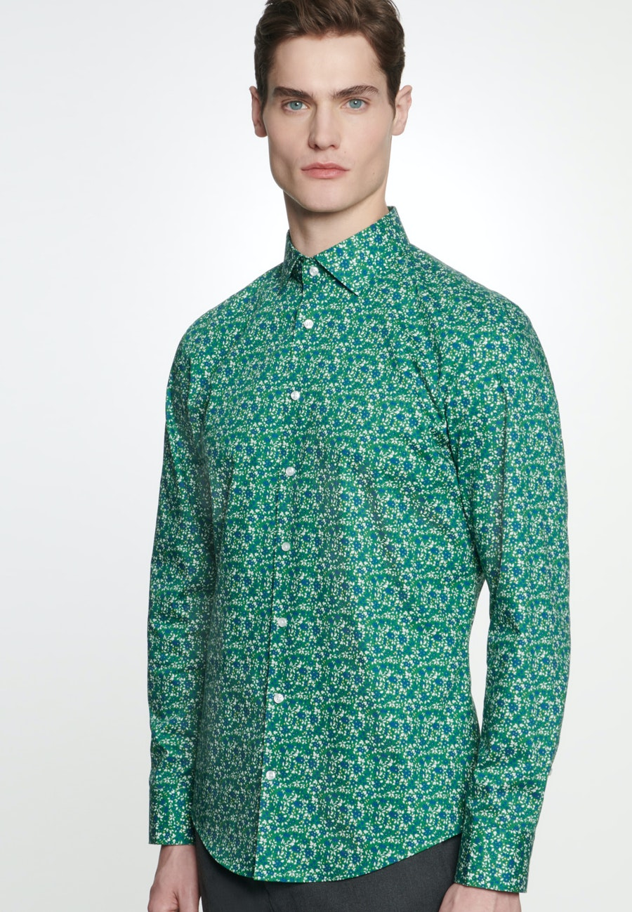 Easy-iron Poplin Business Shirt in Shaped with Kent-Collar in Green |  Seidensticker Onlineshop