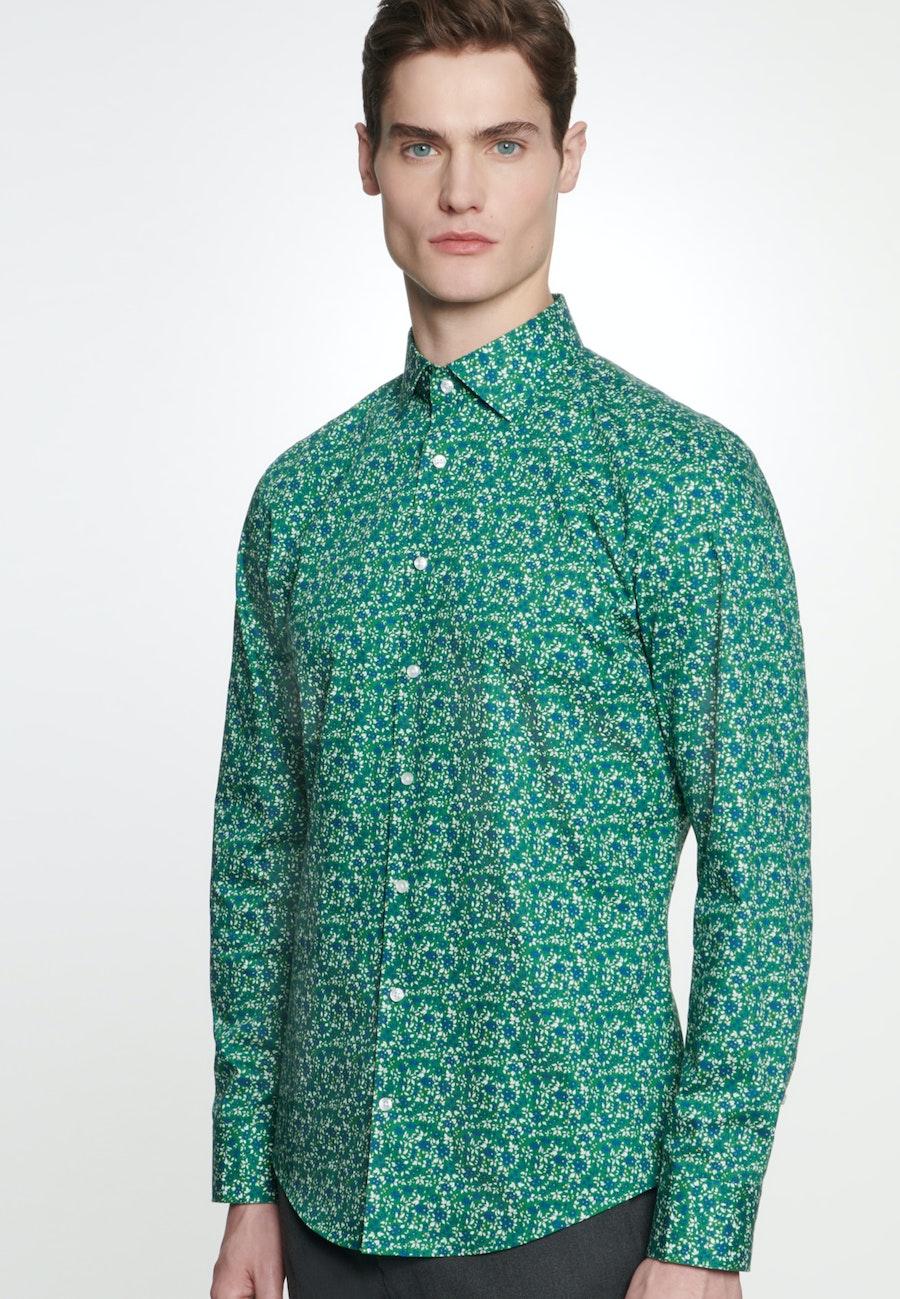 Bügelleichtes Popeline Business Hemd in Shaped mit Kentkragen in Grün    Seidensticker Onlineshop