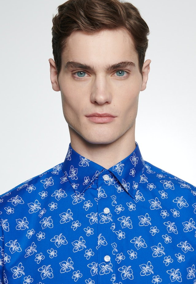 Easy-iron Popeline Business Shirt in Shaped with Covered-Button-Down-Collar in Medium blue    Seidensticker Onlineshop