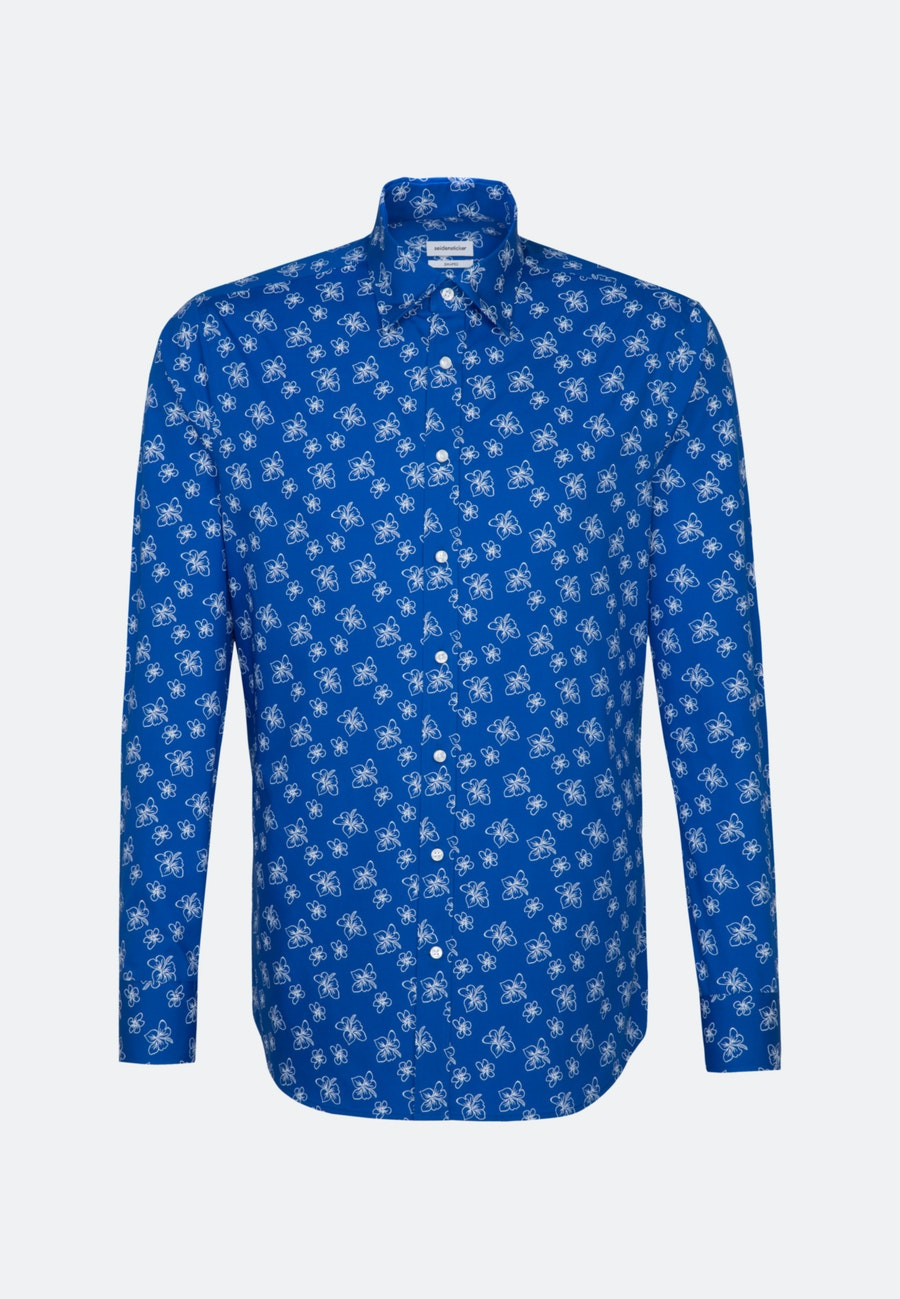 Easy-iron Popeline Business Shirt in Shaped with Covered-Button-Down-Collar in Medium blue |  Seidensticker Onlineshop