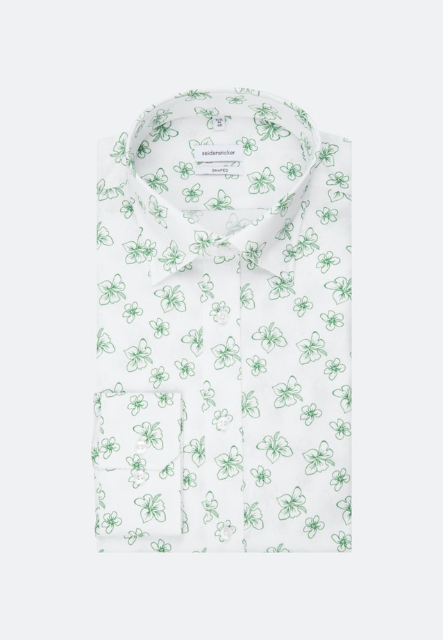 Bügelleichtes Popeline Business Hemd in Shaped mit Covered-Button-Down-Kragen in Weiß |  Seidensticker Onlineshop