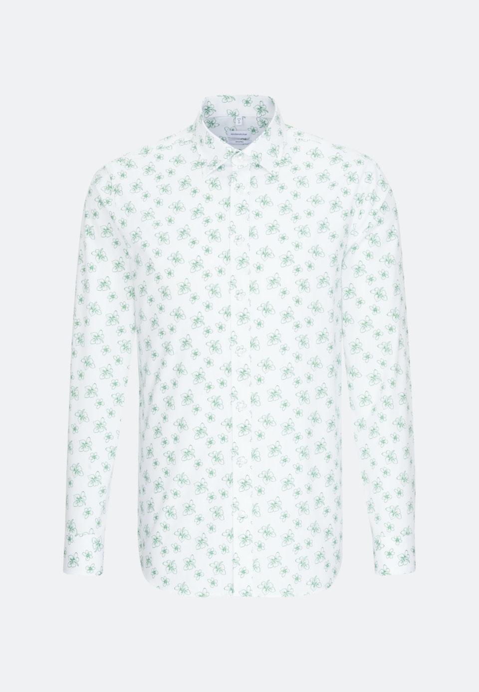 Bügelleichtes Popeline Business Hemd in Shaped mit Covered-Button-Down-Kragen in Weiß    Seidensticker Onlineshop