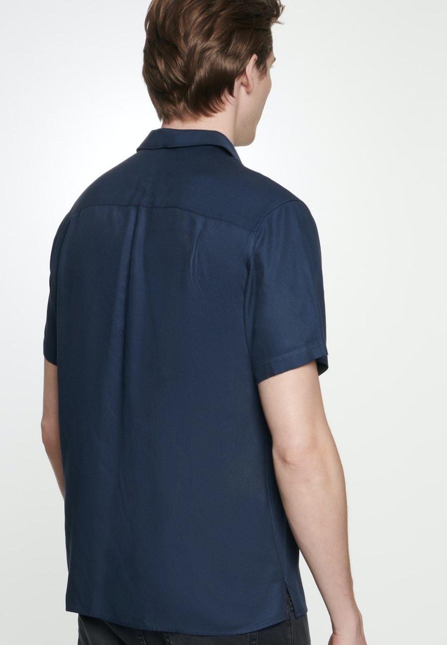 Bügelleichtes Twill Kurzarm Business Hemd in Shaped mit Reverskragen in Dunkelblau    Seidensticker Onlineshop