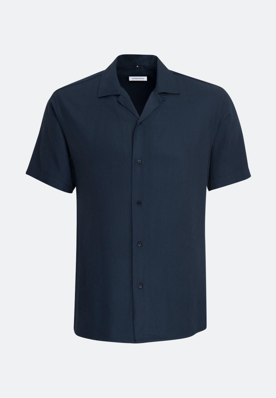 Easy-iron Twill Short sleeve Business Shirt in Shaped with Lapel Collar in Dark blue |  Seidensticker Onlineshop