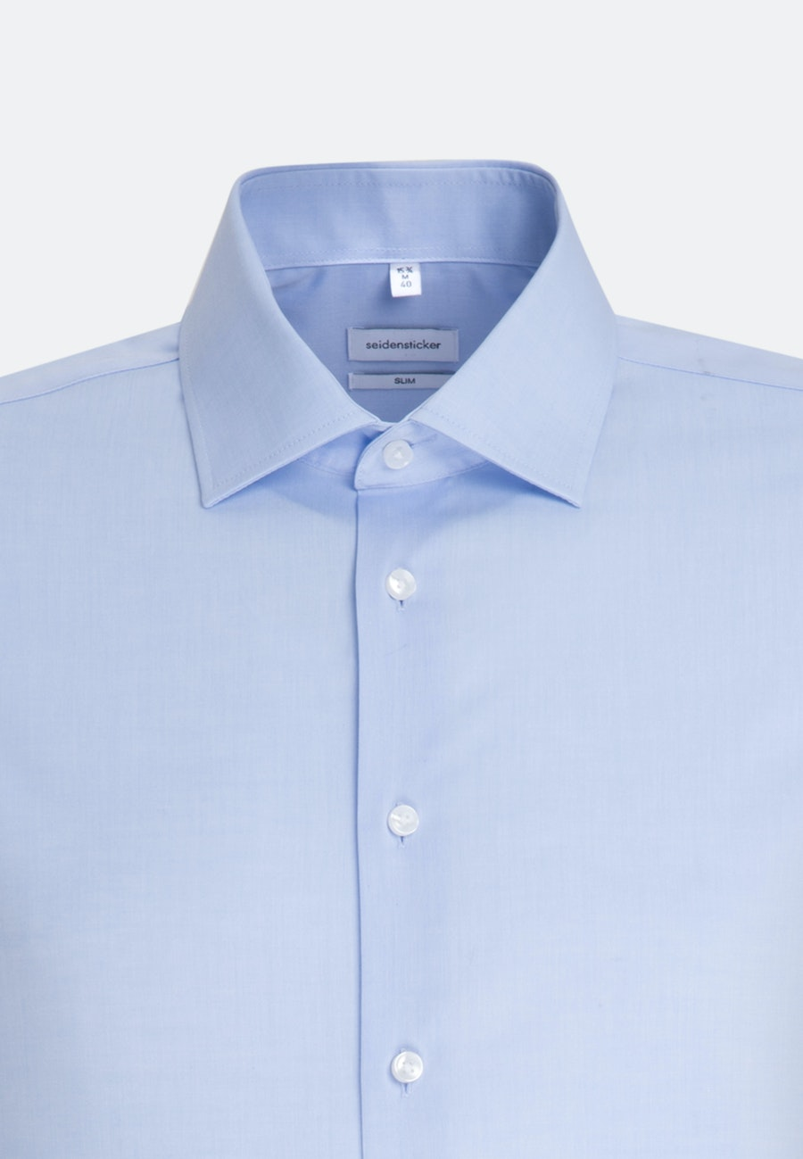Bügelfreies Chambray Business Hemd in Slim mit Kentkragen und extra langem Arm in Hellblau    Seidensticker Onlineshop