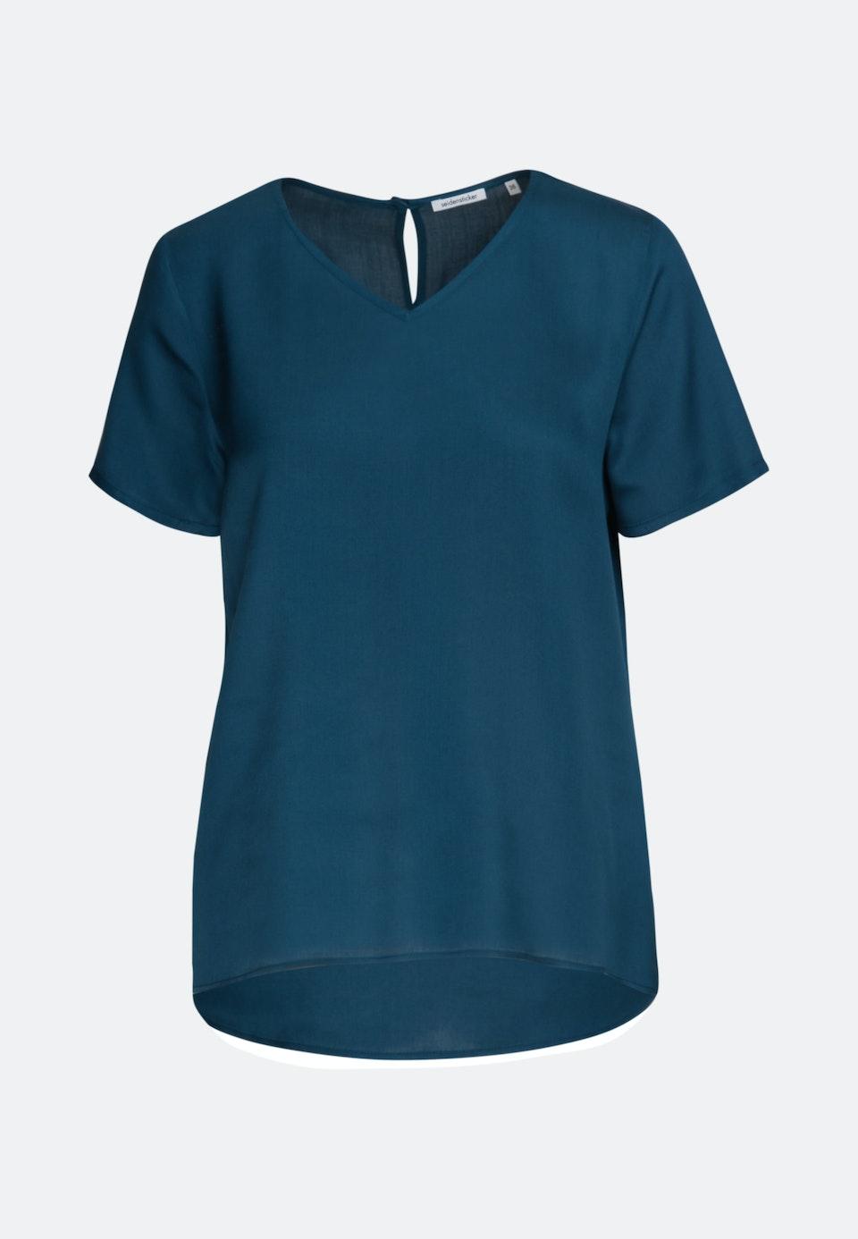 Kurzarm Satin Shirtbluse aus 100% Viskose in Türkis/Petrol    Seidensticker Onlineshop