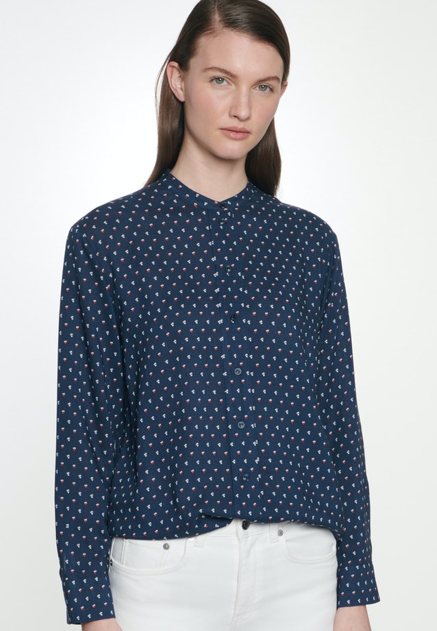 Popeline Stand-Up Blouse made of 100% Viscose in Dark blue |  Seidensticker Onlineshop