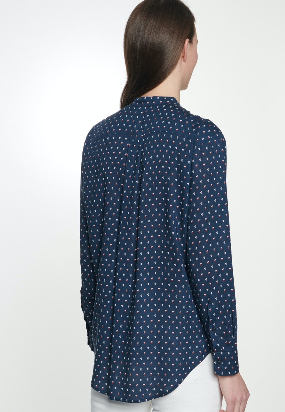 Popeline Stand-Up Blouse made of 100% Viscose in Dark blue |  Seidensticker Onlineshop