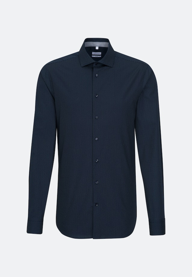 Easy-iron Popeline Business Shirt in Shaped with Kent-Collar and extra long sleeve in Dark blue    Seidensticker Onlineshop