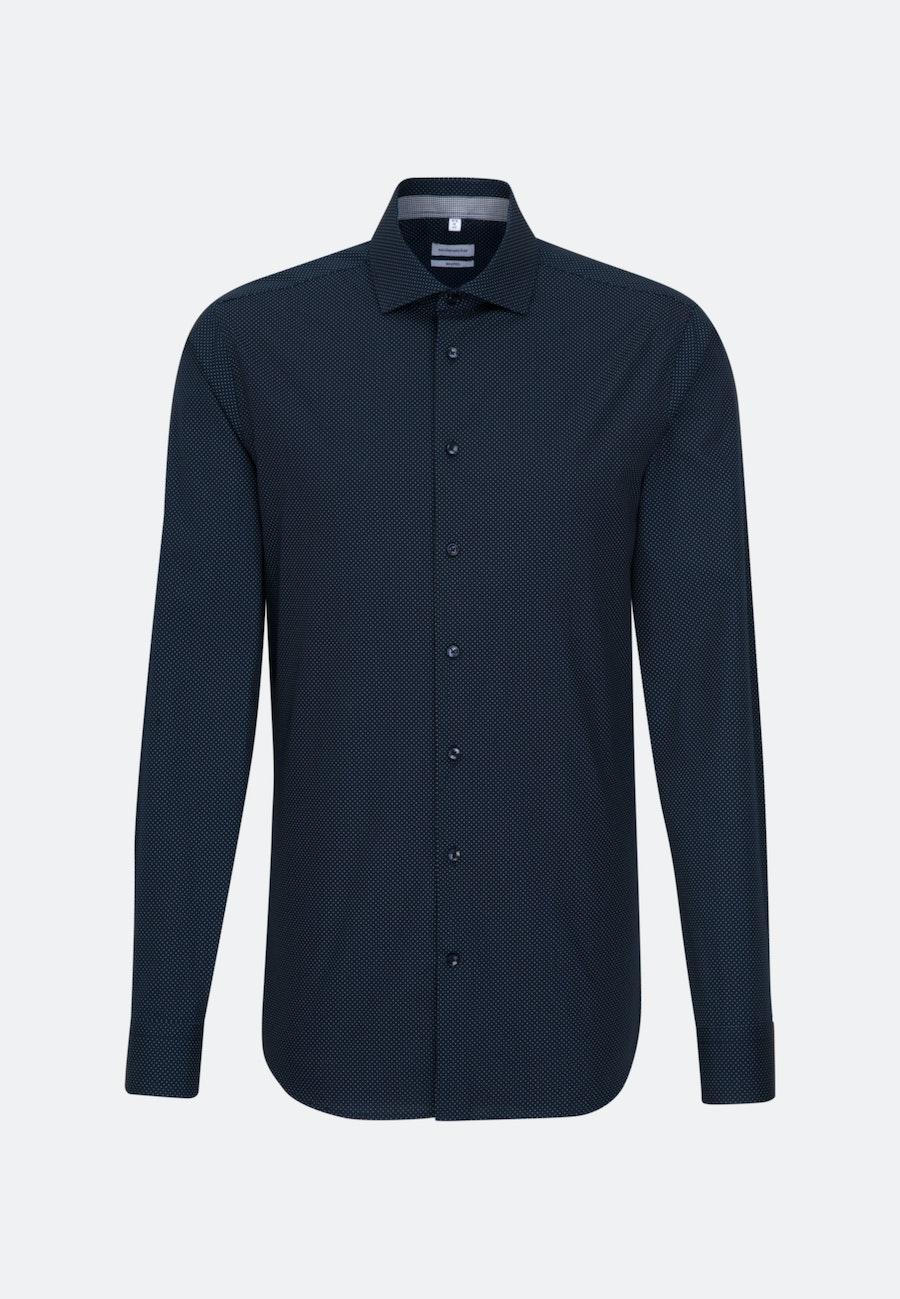 Bügelleichtes Popeline Business Hemd in Shaped mit Kentkragen und extra langem Arm in Dunkelblau    Seidensticker Onlineshop