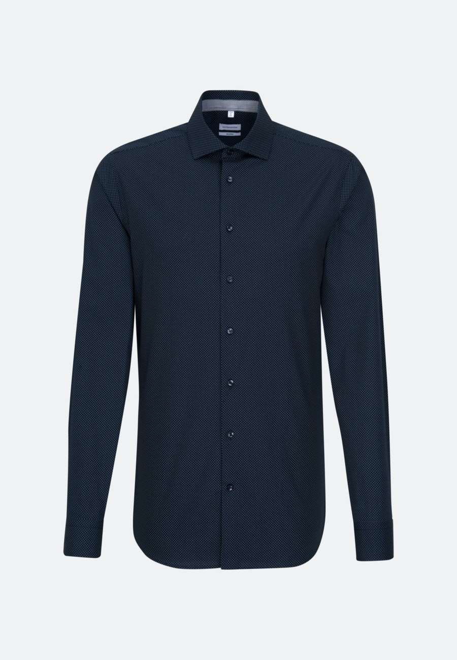 Bügelleichtes Popeline Business Hemd in Shaped mit Kentkragen und extra langem Arm in Dunkelblau |  Seidensticker Onlineshop