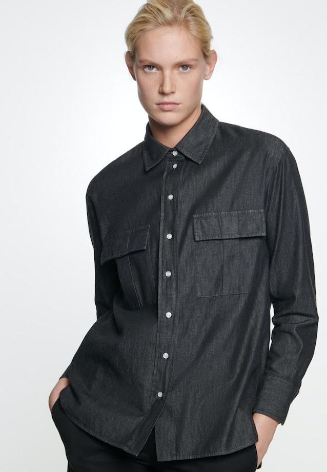 Denim Shirt Blouse made of 100% Cotton in Grey |  Seidensticker Onlineshop