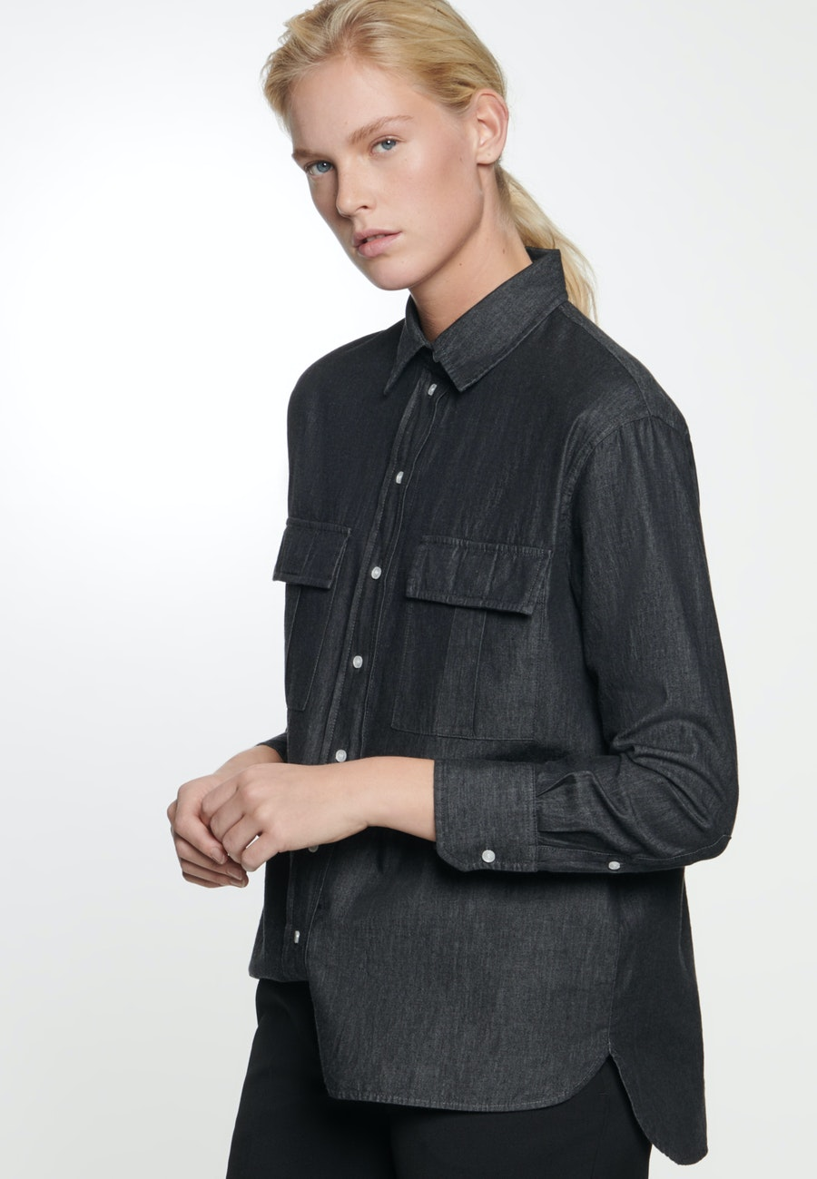 Denim Shirt Blouse made of 100% Cotton in Grey |  Seidensticker Onlineshop