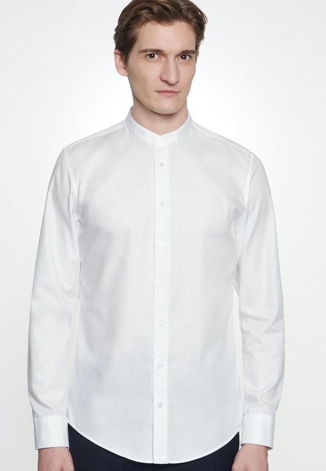 Bügelleichtes Twill Business Hemd in Shaped mit Stehkragen in Weiß    Seidensticker Onlineshop