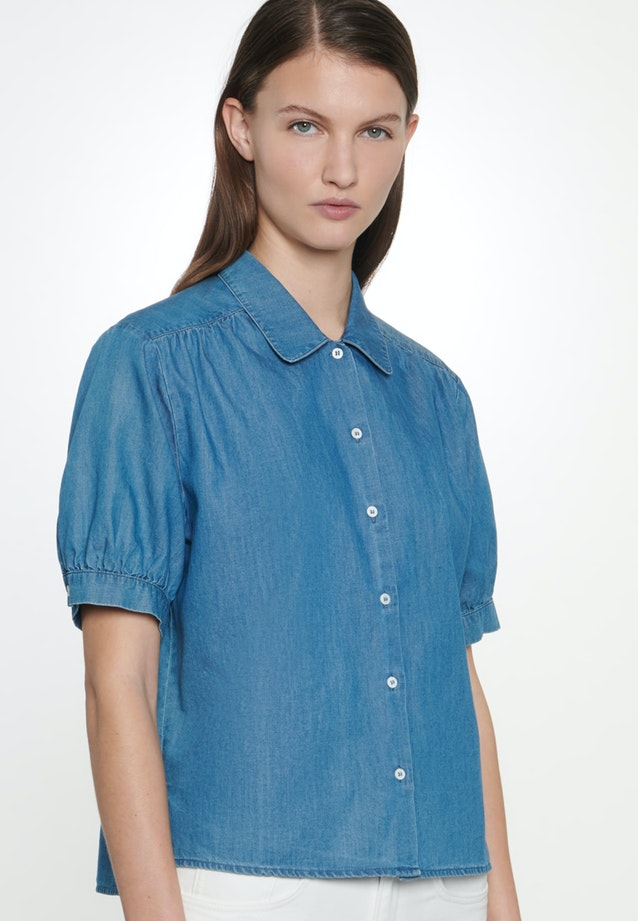 Short sleeve Denim Shirt Blouse made of 100% Cotton in Dark blue |  Seidensticker Onlineshop