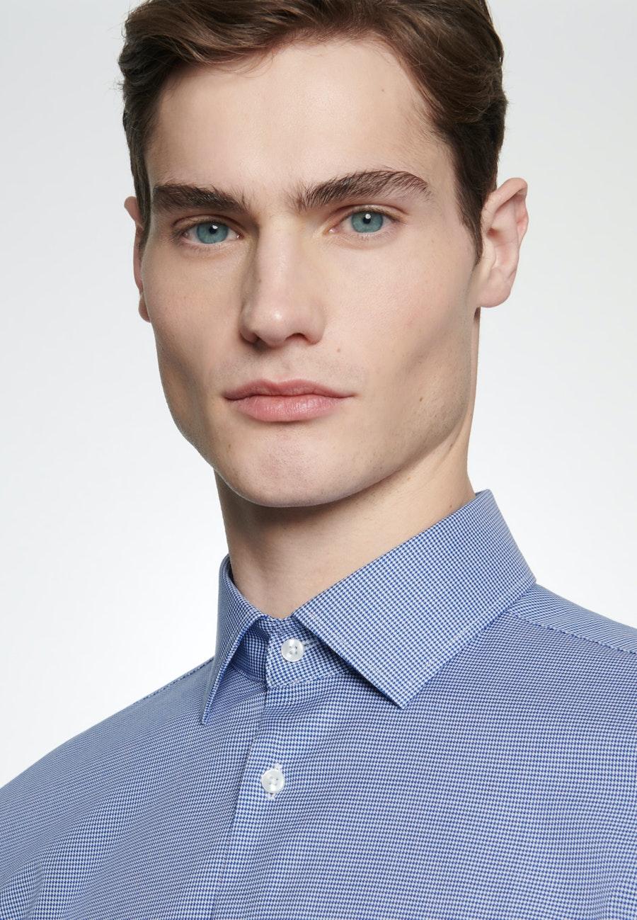 Bügelleichtes Pepita Business Hemd in Shaped mit Kentkragen in Mittelblau    Seidensticker Onlineshop