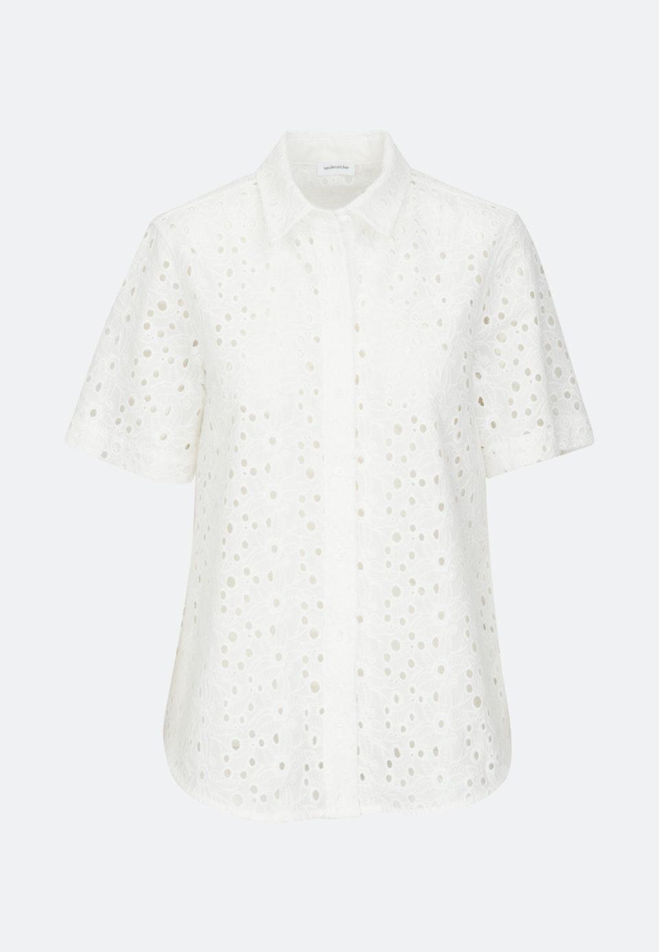 Kurzarm Voile Hemdbluse aus 100% Baumwolle in Ecru |  Seidensticker Onlineshop