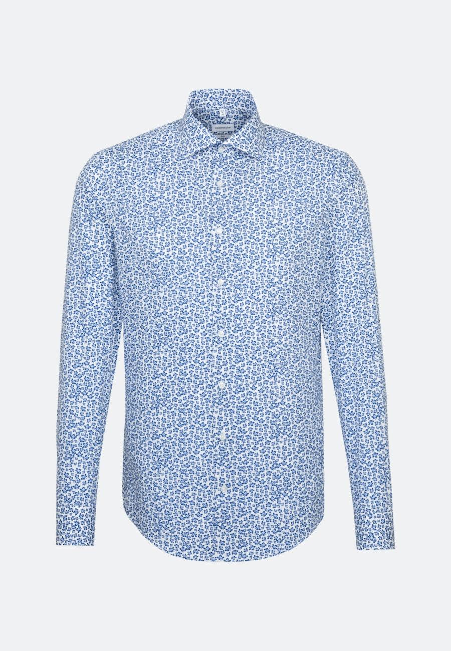 Bügelleichtes Popeline Business Hemd in Slim mit Kentkragen in Mittelblau    Seidensticker Onlineshop
