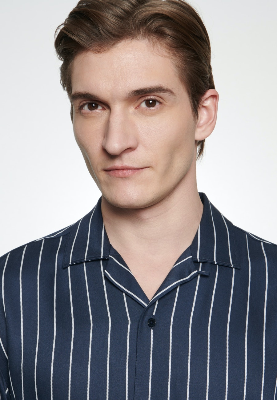 Bügelfreies Twill Kurzarm Business Hemd in Shaped mit Reverskragen in Dunkelblau |  Seidensticker Onlineshop