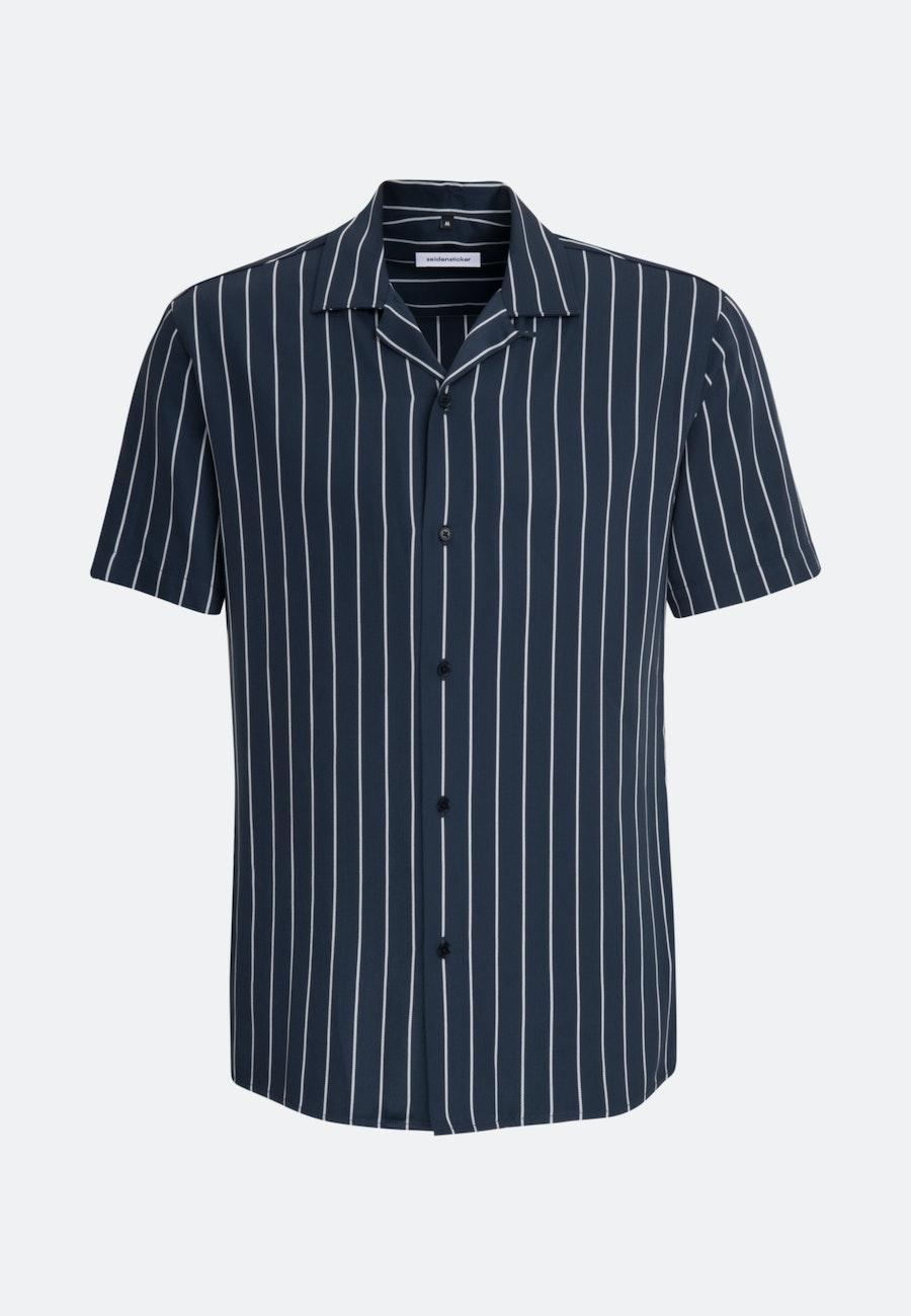 Non-iron Twill Short sleeve Business Shirt in Shaped with Lapel Collar in Dark blue |  Seidensticker Onlineshop