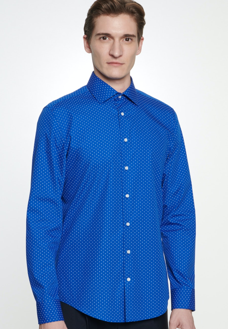 Easy-iron Poplin Business Shirt in Slim with Kent-Collar in Medium blue |  Seidensticker Onlineshop