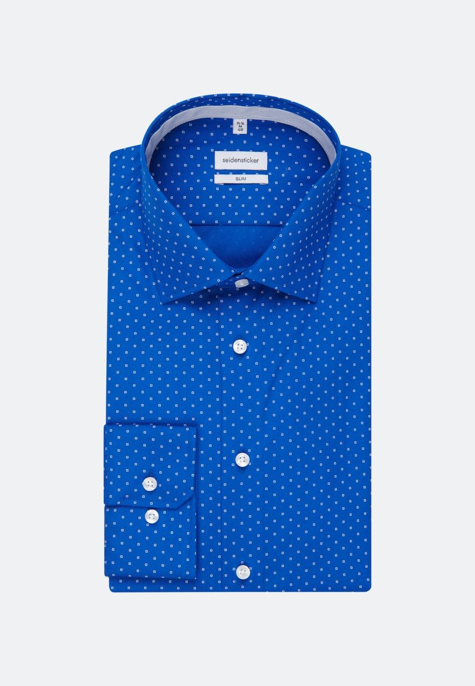 Easy-iron Popeline Business Shirt in Slim with Kent-Collar in Medium blue |  Seidensticker Onlineshop