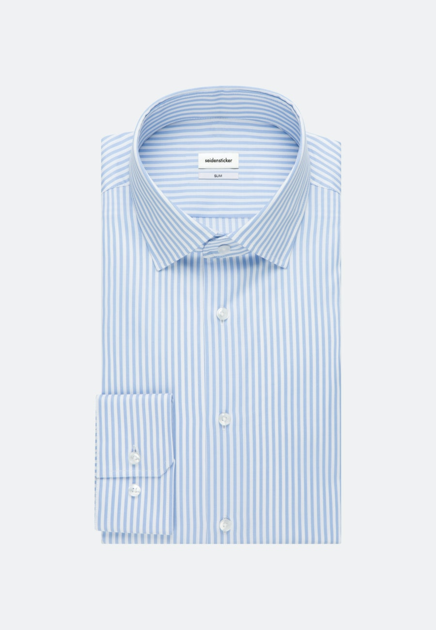 Bügelleichtes Piqué Business Hemd in Slim mit Kentkragen in Hellblau    Seidensticker Onlineshop