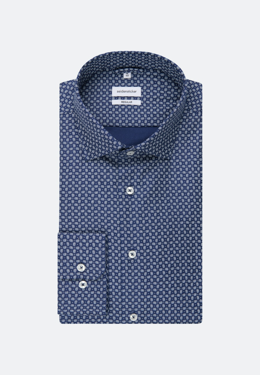 Easy-iron Structure Business Shirt in Regular with Kent-Collar and extra long sleeve in Medium blue |  Seidensticker Onlineshop