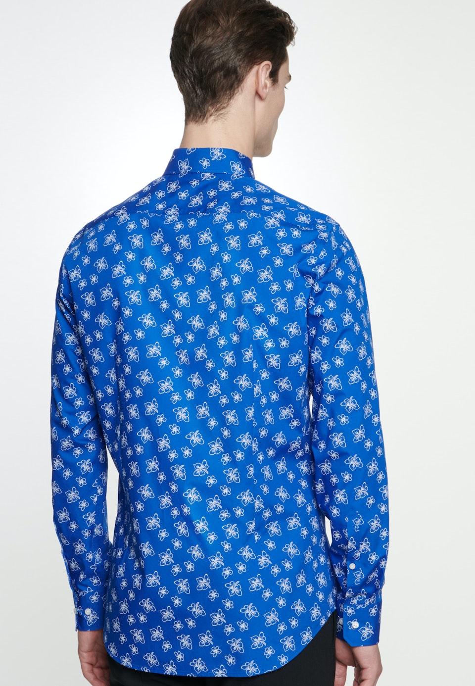 Easy-iron Popeline Business Shirt in Slim with Covered-Button-Down-Collar in Medium blue |  Seidensticker Onlineshop
