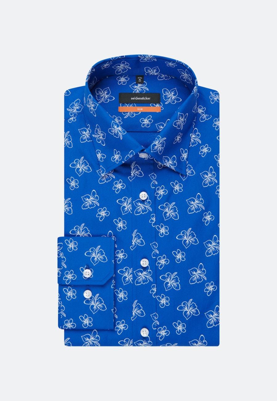 Easy-iron Popeline Business Shirt in Slim with Covered-Button-Down-Collar in Medium blue    Seidensticker Onlineshop