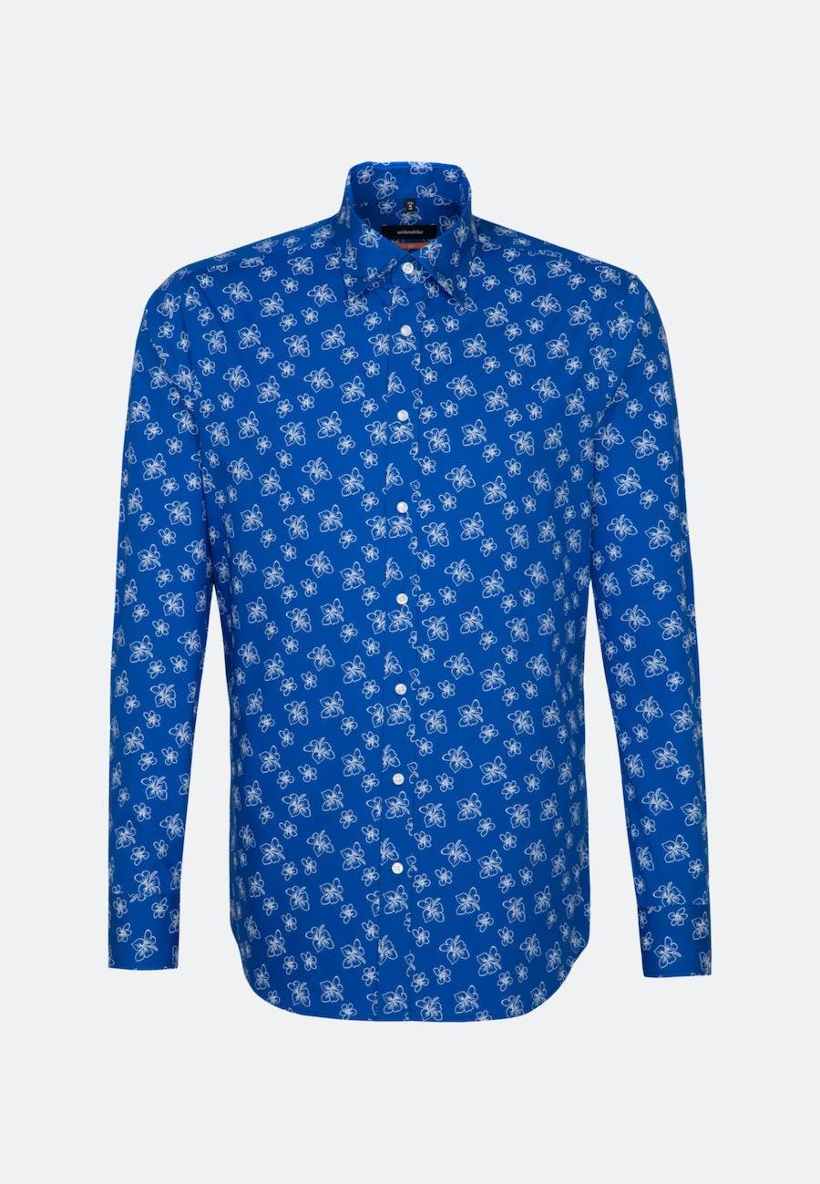 Bügelleichtes Popeline Business Hemd in Slim mit Covered-Button-Down-Kragen in Mittelblau    Seidensticker Onlineshop