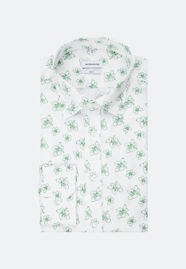 Bügelleichtes Popeline Business Hemd in Slim mit Covered-Button-Down-Kragen in Weiß |  Seidensticker Onlineshop