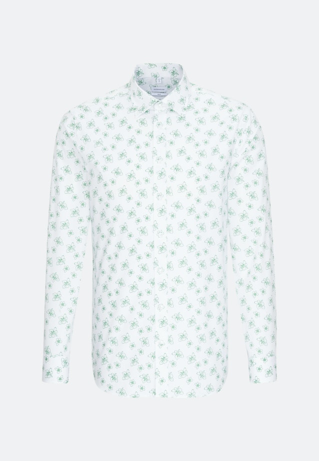 Easy-iron Popeline Business Shirt in Slim with Covered-Button-Down-Collar in White |  Seidensticker Onlineshop