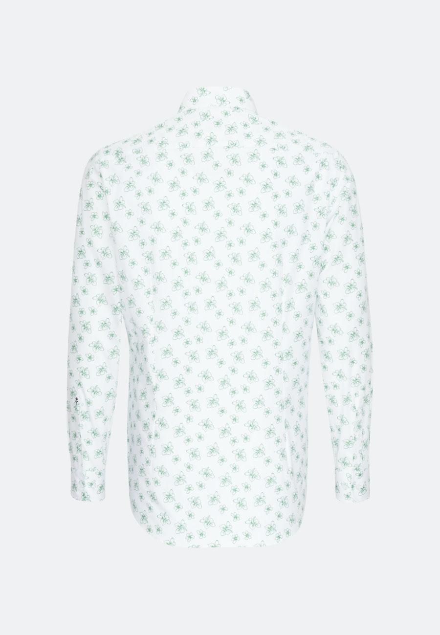 Bügelleichtes Popeline Business Hemd in Slim mit Covered-Button-Down-Kragen in Weiß    Seidensticker Onlineshop