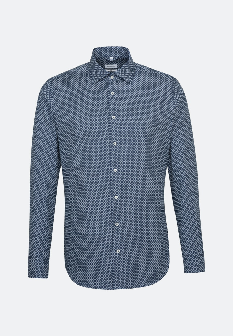 Easy-iron Struktur Business Shirt in Slim with Kent-Collar and extra long sleeve in Medium blue |  Seidensticker Onlineshop