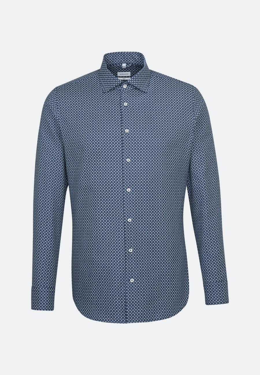 Bügelleichtes Struktur Business Hemd in Slim mit Kentkragen und extra langem Arm in Mittelblau    Seidensticker Onlineshop