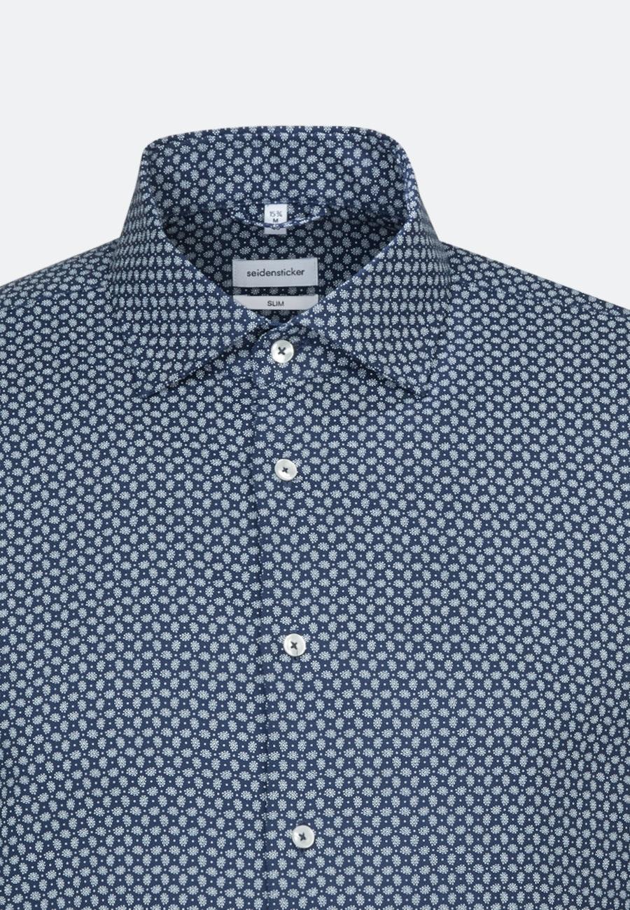 Bügelleichtes Struktur Business Hemd in Slim mit Kentkragen und extra langem Arm in Mittelblau |  Seidensticker Onlineshop