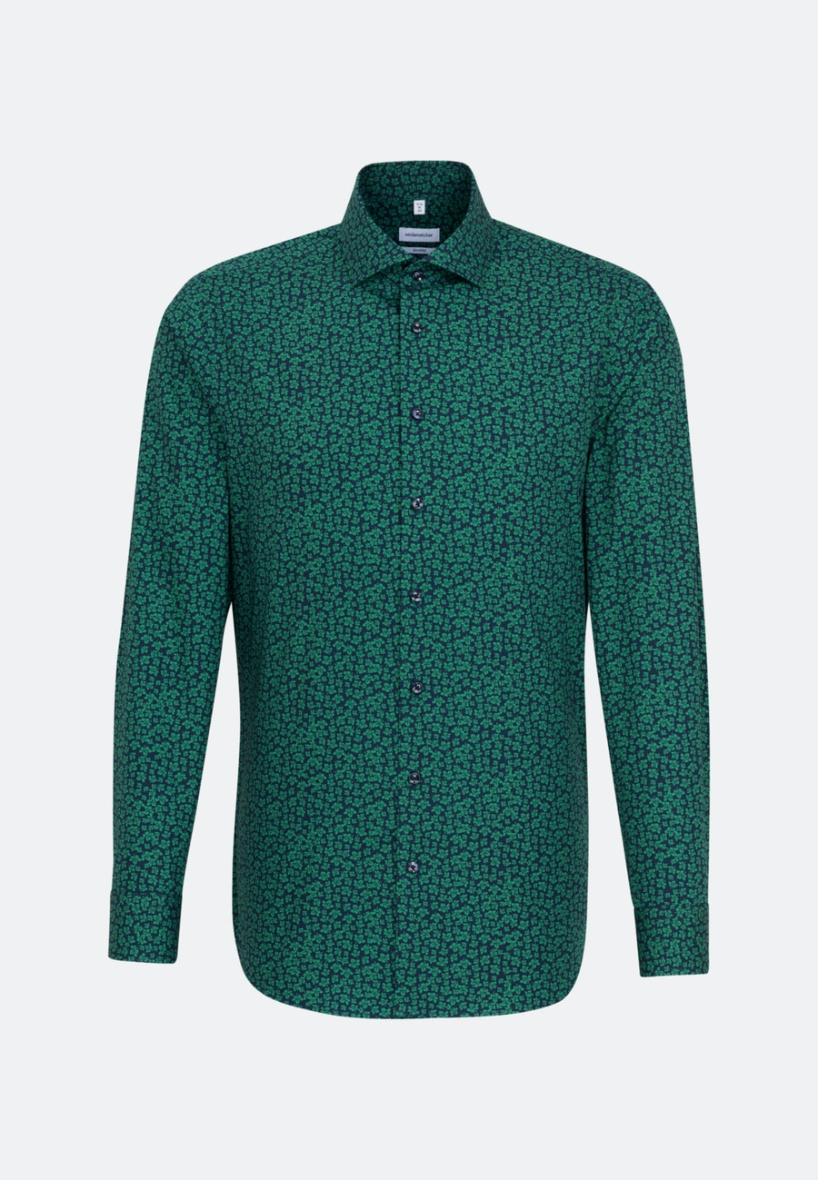 Easy-iron Popeline Business Shirt in Shaped with Kent-Collar in Green    Seidensticker Onlineshop