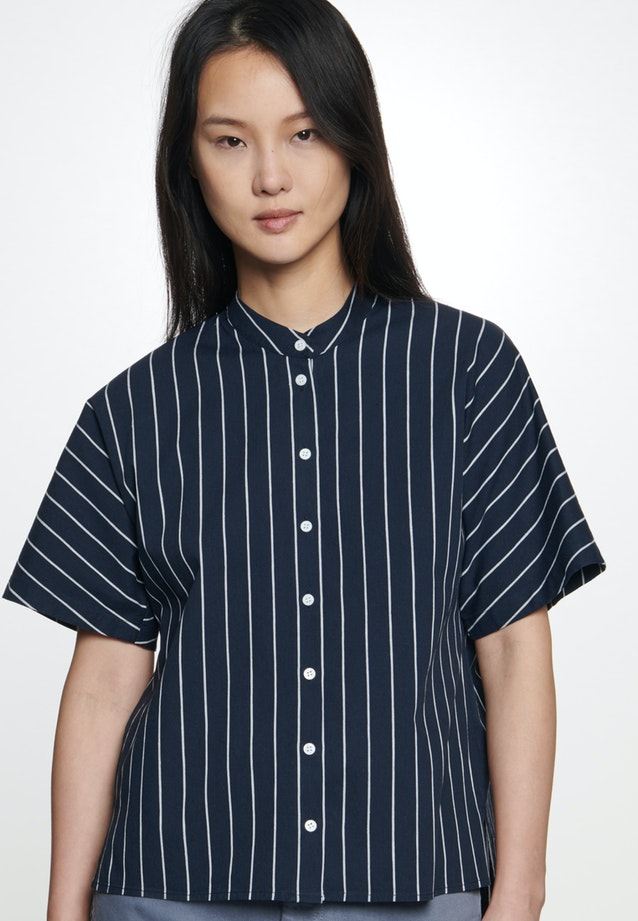 Short sleeve Poplin Shirt Blouse made of linen blend in Dark blue |  Seidensticker Onlineshop