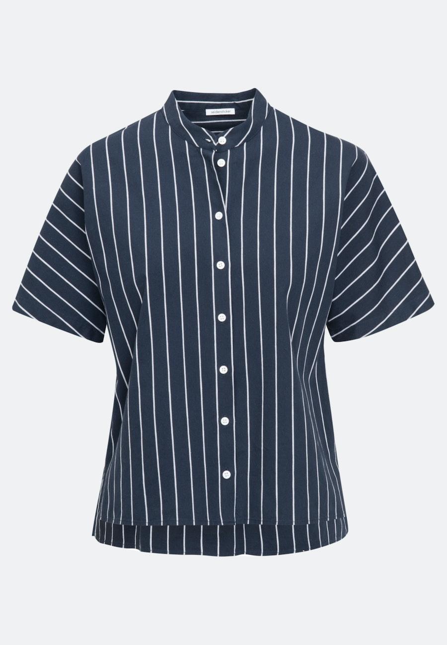 Short sleeve Poplin Shirt Blouse made of linen blend in Dark blue    Seidensticker Onlineshop