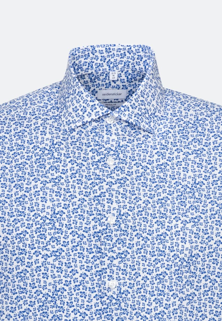 Bügelleichtes Popeline Business Hemd in Regular mit Kentkragen in Mittelblau    Seidensticker Onlineshop