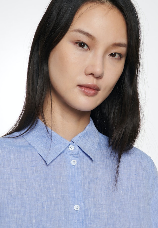 Linen Shirt Blouse made of 100% Linen in Medium blue |  Seidensticker Onlineshop