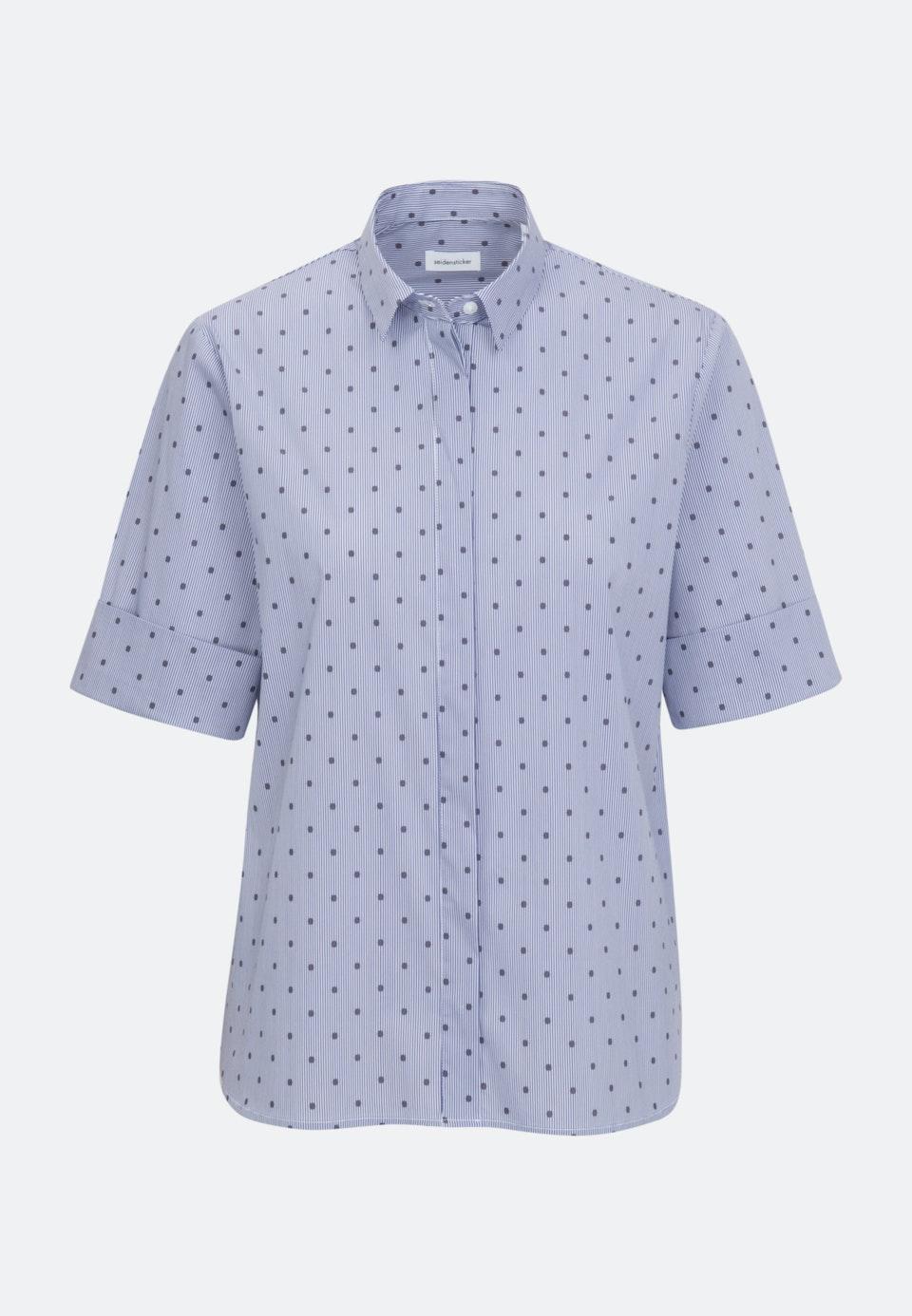 Kurzarm Satin Hemdbluse aus Baumwollmischung in Dunkelblau    Seidensticker Onlineshop