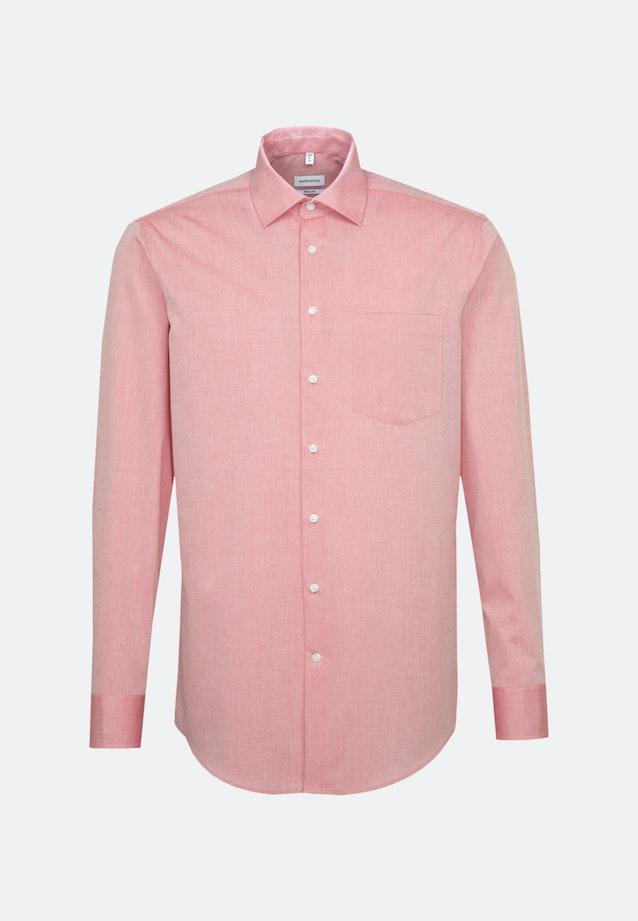 Bügelfreies Chambray Business Hemd in Regular mit Kentkragen und extra langem Arm in Rot    Seidensticker Onlineshop