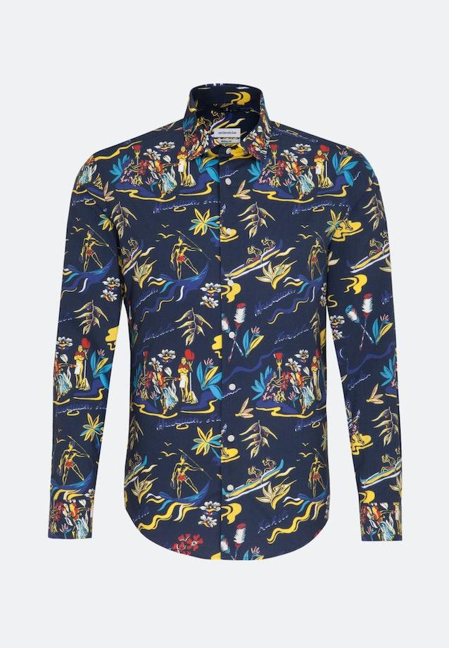 Easy-iron Popeline Business Shirt in Regular with Kent-Collar in Dark blue    Seidensticker Onlineshop