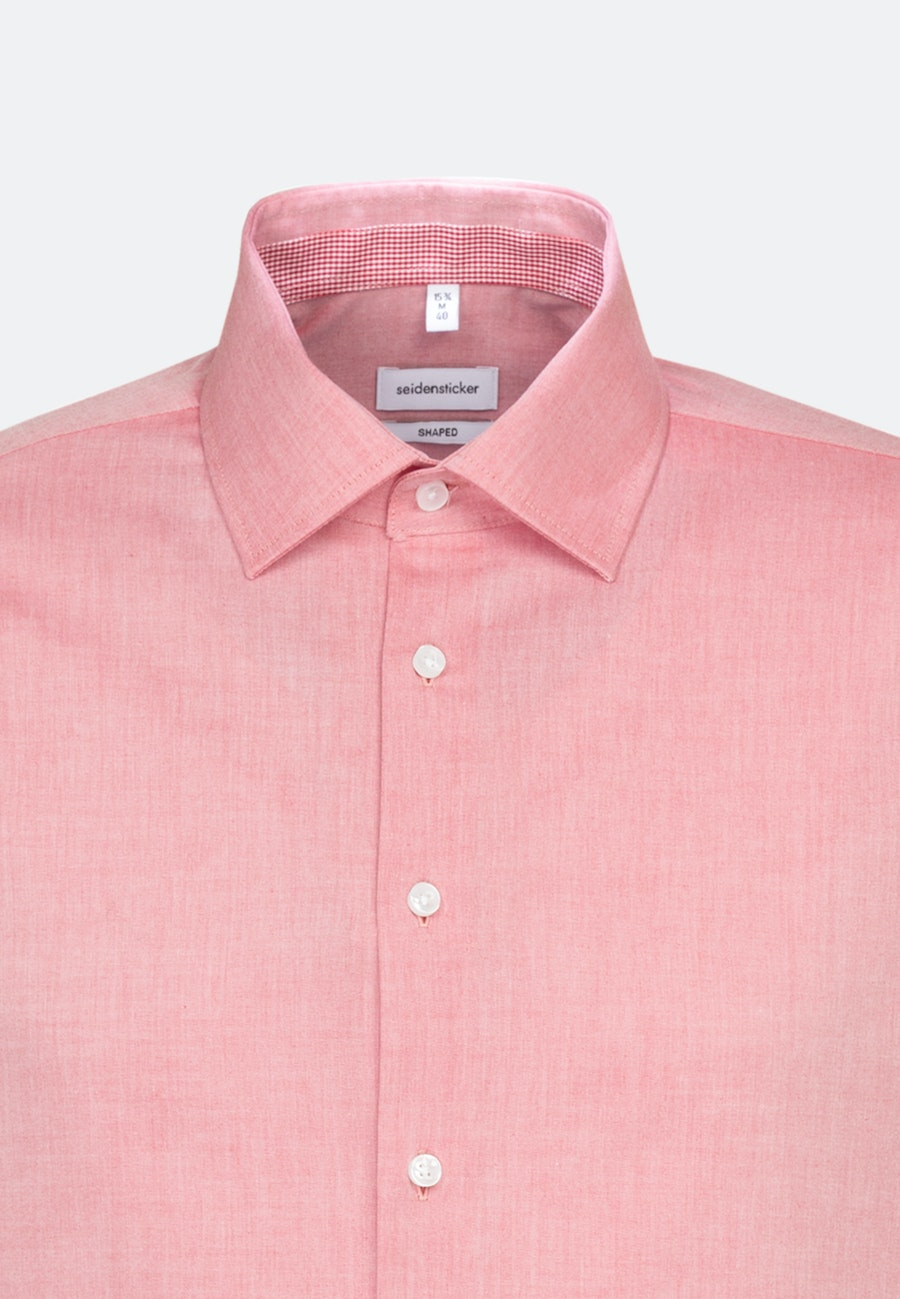 Non-iron Chambray Business Shirt in Shaped with Kent-Collar and extra long sleeve in Red    Seidensticker Onlineshop