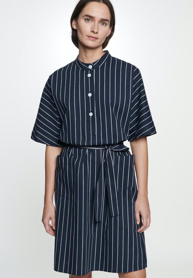 Poplin Midi Dress made of linen blend in Dark blue |  Seidensticker Onlineshop