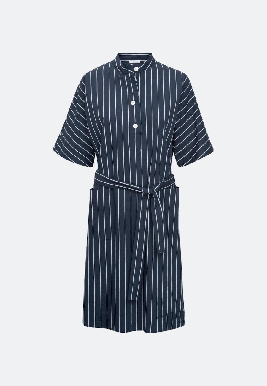 Poplin Midi Dress made of linen blend in Dark blue |  Seidensticker Onlineshop