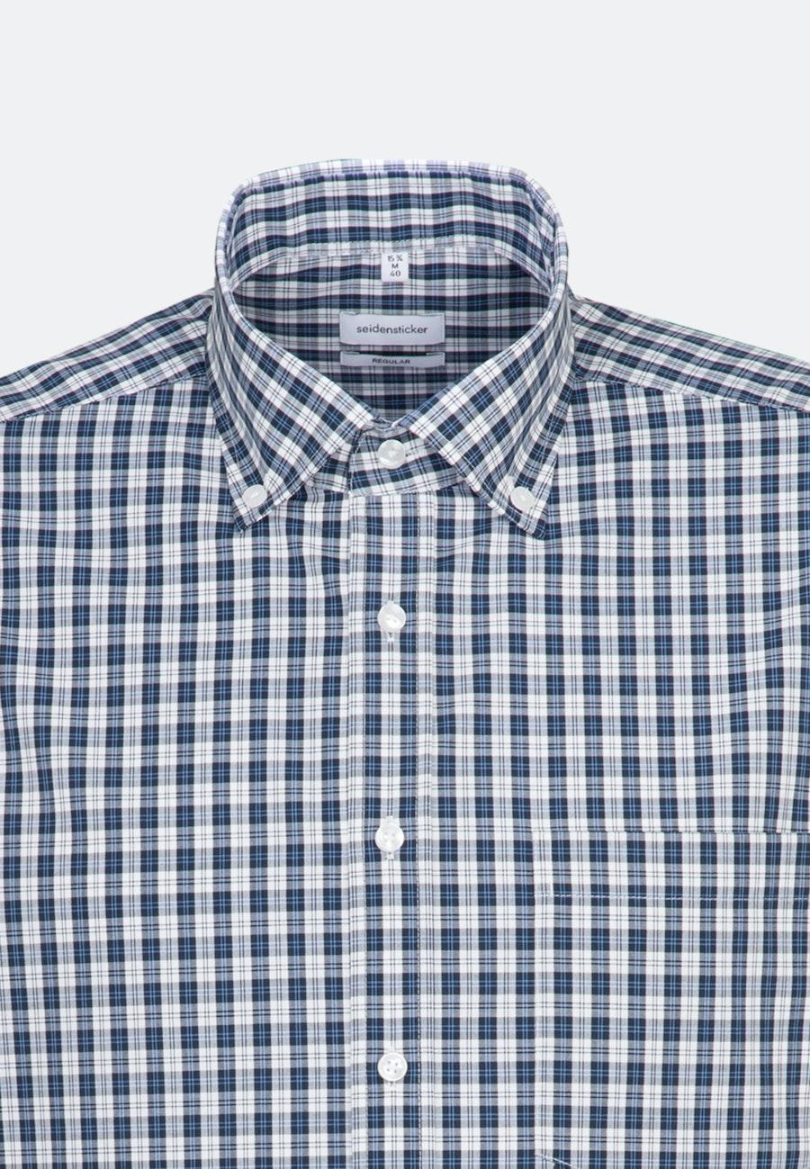 Non-iron Poplin Business Shirt in Regular with Button-Down-Collar in Dark blue    Seidensticker Onlineshop